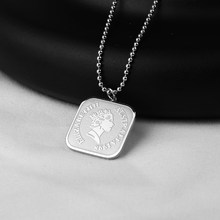 Stainless Steel Square Elizabeth Pendant Necklace Geometric Queen Portrait Beads Chain Necklaces Joyeria Acero Inoxidable Mujer(China)