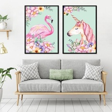 Wall Sticker Art Unicorn Home Decor Flamingo Prints Girls Room