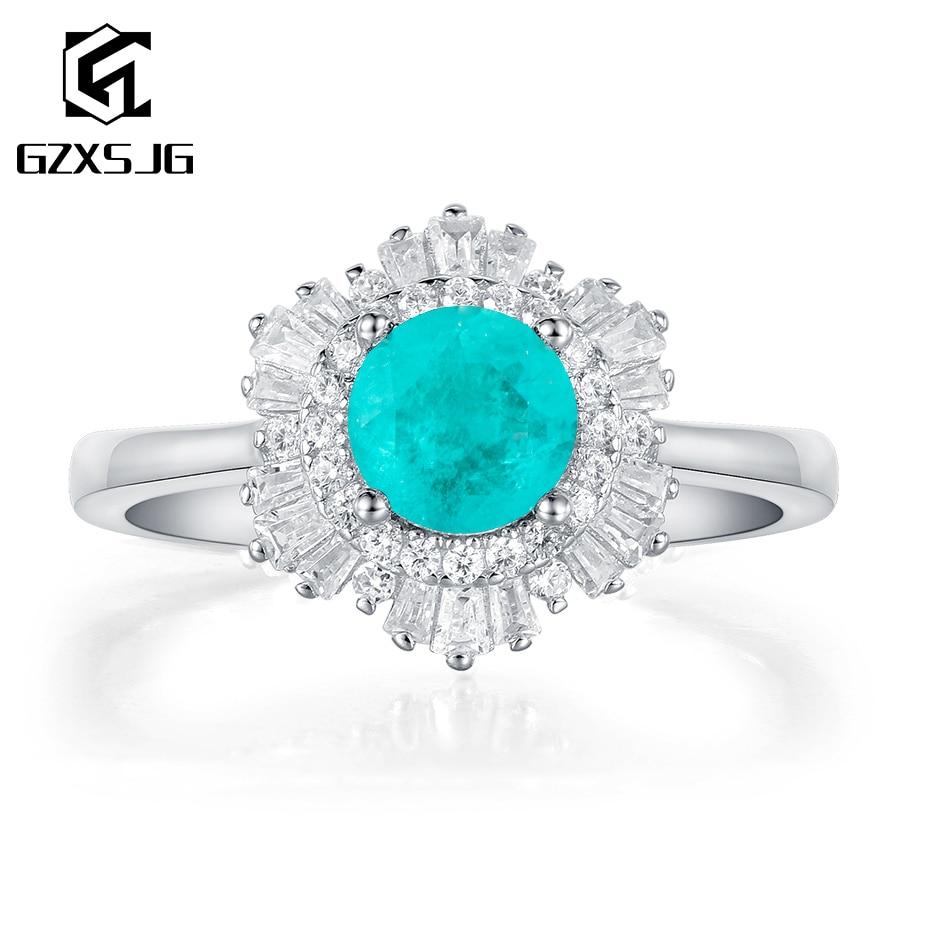 GZXSJG Paraiba Tourmaline Tanzanite Gemstones Ring for Women Solid 925 Sterling Silver Engagement Bride Unique Fine Jewelry
