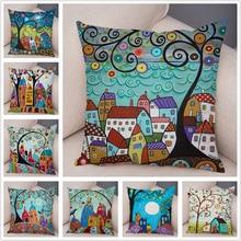 Retro Rural Color Cities Cushion Cover for Sofa Home Car Decor Colorful Cartoon House Pillow Case Tree Short Plush Pillowcase