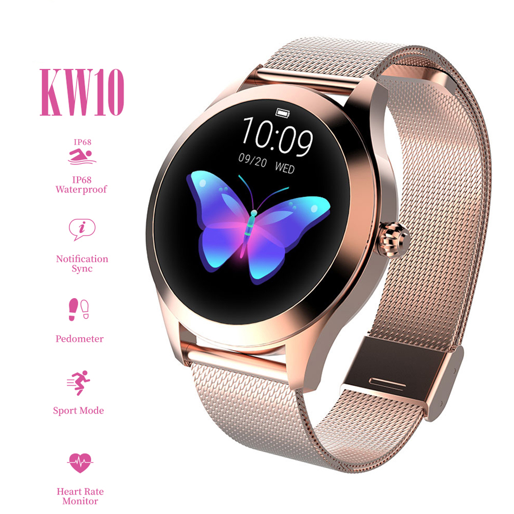 2020 KW10 Smart Watch Women IP68 Waterproof Heart Rate Monitoring Bluetooth For Android IOS Fitness Bracelet Smartwatch