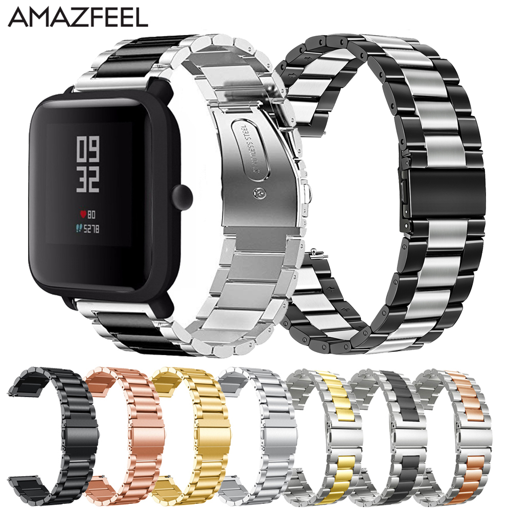 Metal Stainless Steel Watch Band For Amazfit Bip Youth Steel Bracelet For Huami Amazfit Pace Stratos GTR 47MM Wrist Band 20 22mm