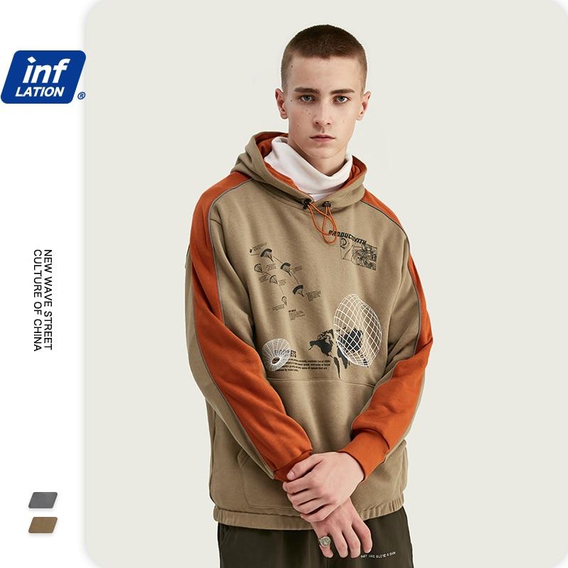 INFLATION 2020 Color Block Men Hoodies Hip Hop Men Winter Warm Hoodies Cotton Hoodies With Drawstring Pullovers 9633W