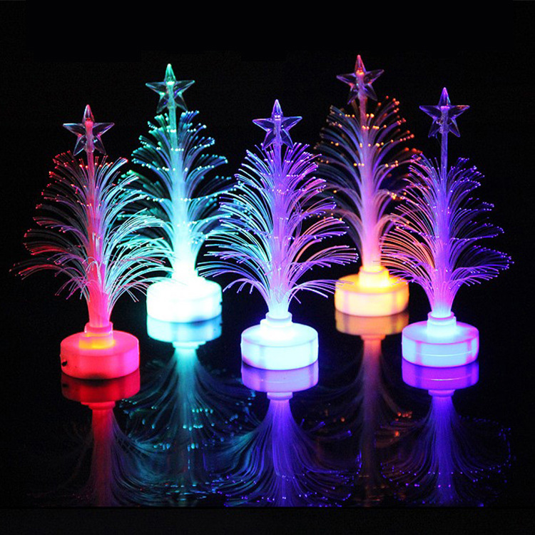 Creative Christmas Tree Decoration Mini Xmas Tree Light With Battery Fibre Optic LED Multi Color Changing Lights LED Night Light