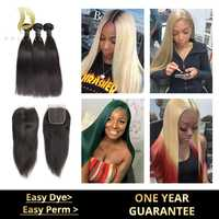 Straight Brazilian Hair Weave 3 4 Bundles With Closure Raw Virgin Short Long Natural Afro Human Hair extensions vendors Dollface