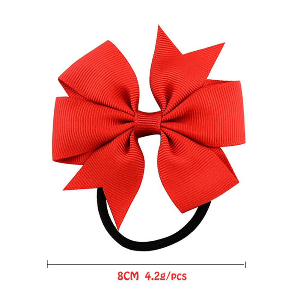 Купить с кэшбэком Modeling tool 20pcs Hairs Ring Girls Mixed Color Ribbed Ribbon Bow Tie Hair Band Head Piece Hair Ring