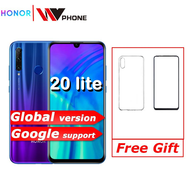 Global Version Honor 20 Lite Mobile Phone 6.21 Inch  Android 9.0 FM Face Fingerprint Unlock   Smartphone