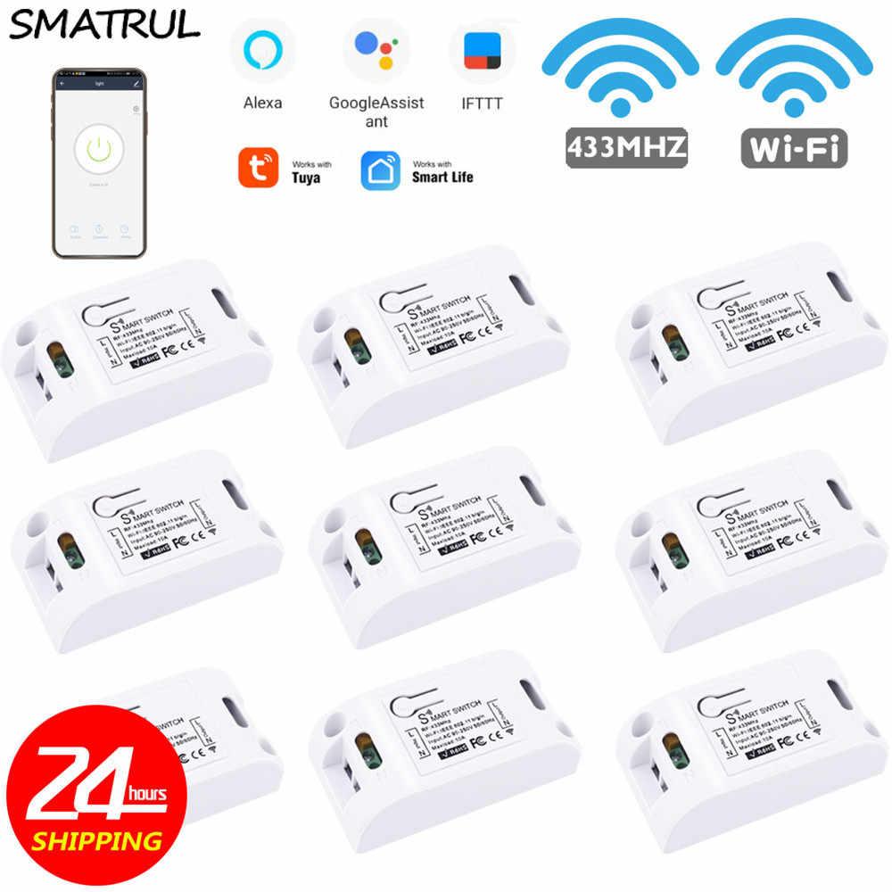 SMATRUL Tuya inteligentne życie APP WiFi + RF 433Mhz DIY moduł przekaźnika czasowego Google Home amazon alexa 90V ~ 250V 10A dla przełącznik światła wentylator