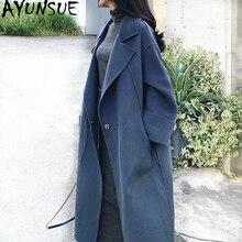 AYUNSUE зимнее пальто, Женское пальто из 100% шерсти, женские двухсторонние шерстяные пальто и куртки, Женская Корейская длинная куртка, Chaqueta Mujer MY