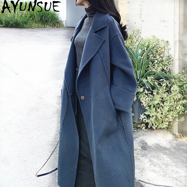 AYUNSUE Winter Coat Women 100% Wool Coat Female Double Side Woolen Coats and Jackets Women Korean Long Jacket Chaqueta Mujer MY