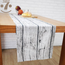 33x145cm Home Decorative Farmhouse Wood Grin Geometric Pattern Cotton Linen TV Stand Bedside Cabinet Table Runner