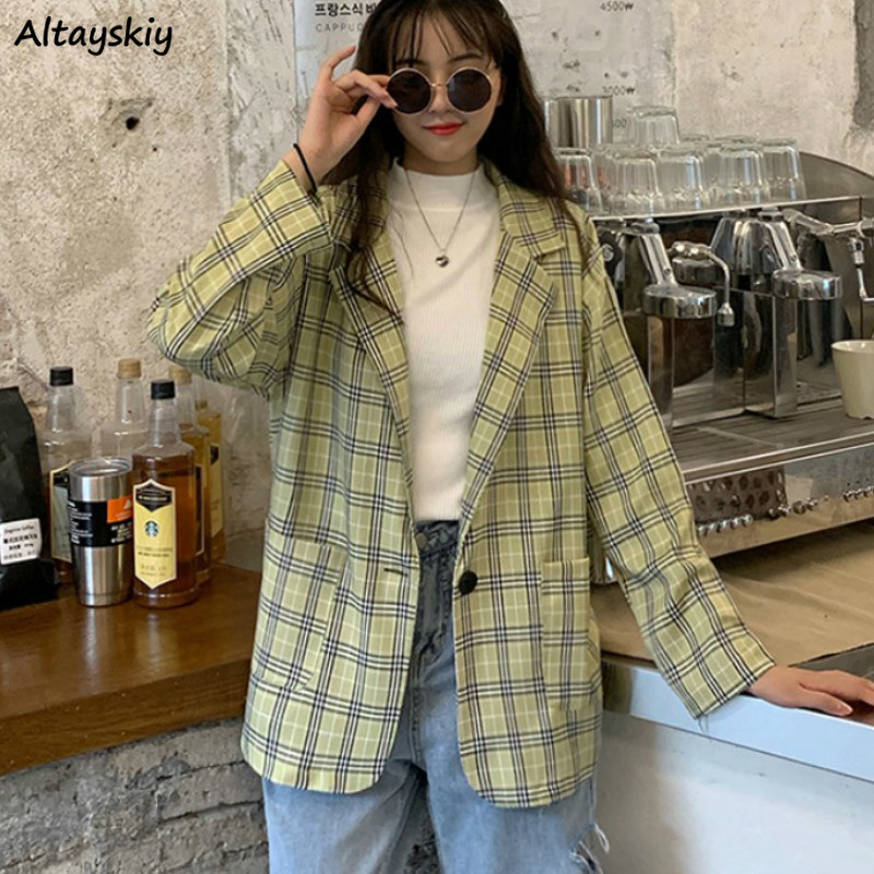 Blazers Womens Plaid Single Button Short Loose Ladies Pockets Causual Jacket Ulzzang British Style Chic Outerwear Newest Spring