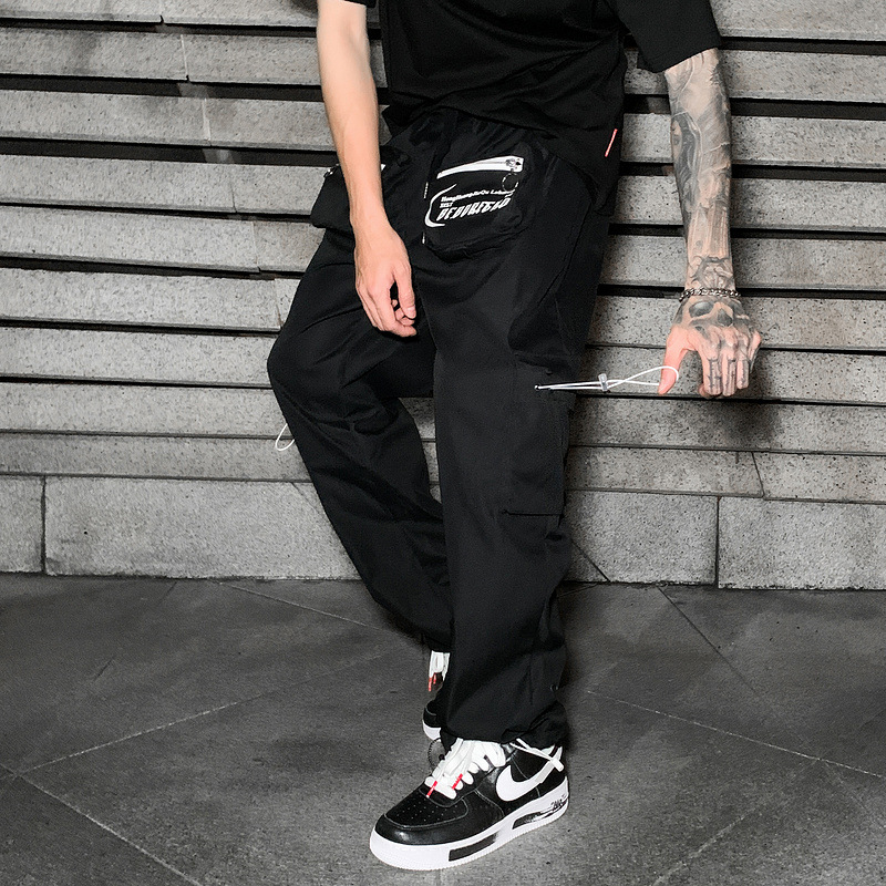 11 BYBB'S DARK Men's Black Cargo Pants Hip Hop Streetwear Joggers Men Elastic Waist Pocket Male Harajuku HipHop Sweatpants XN57