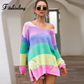 Fitshinling Regenbogen Gestreifte Lange Pullover Femme Pull V Ansatz Dünne Pullover Herbst Winter Langarm Pullover Frauen Jumper Verkauf