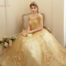 Ball-Gown Graduation-Dress Quinceanera-Dresses Beaded Sequined Gold 15-Anos Lace Vestido