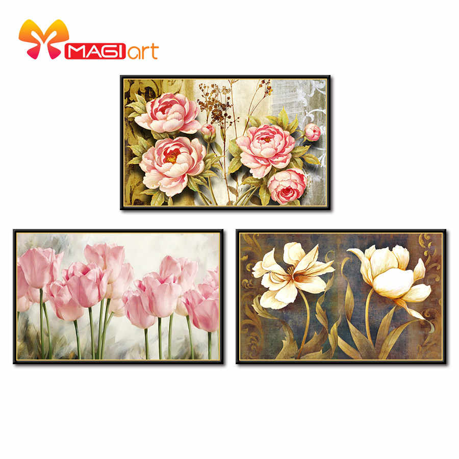 Kruissteek Kits Borduren Handwerken Sets 11CT Water Oplosbare Canvas Patronen 14CT Bloemen Schilderen Abstract Grass-NCMF006