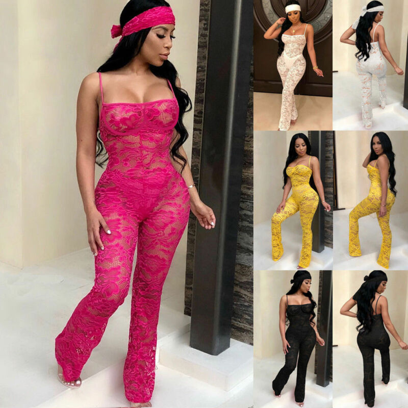 Sheer Sleeveless Lace Jumpsuit for Women Sexy See Through Bandeau Spaghetti Strap Bodycon Rompers Night Club Overalls