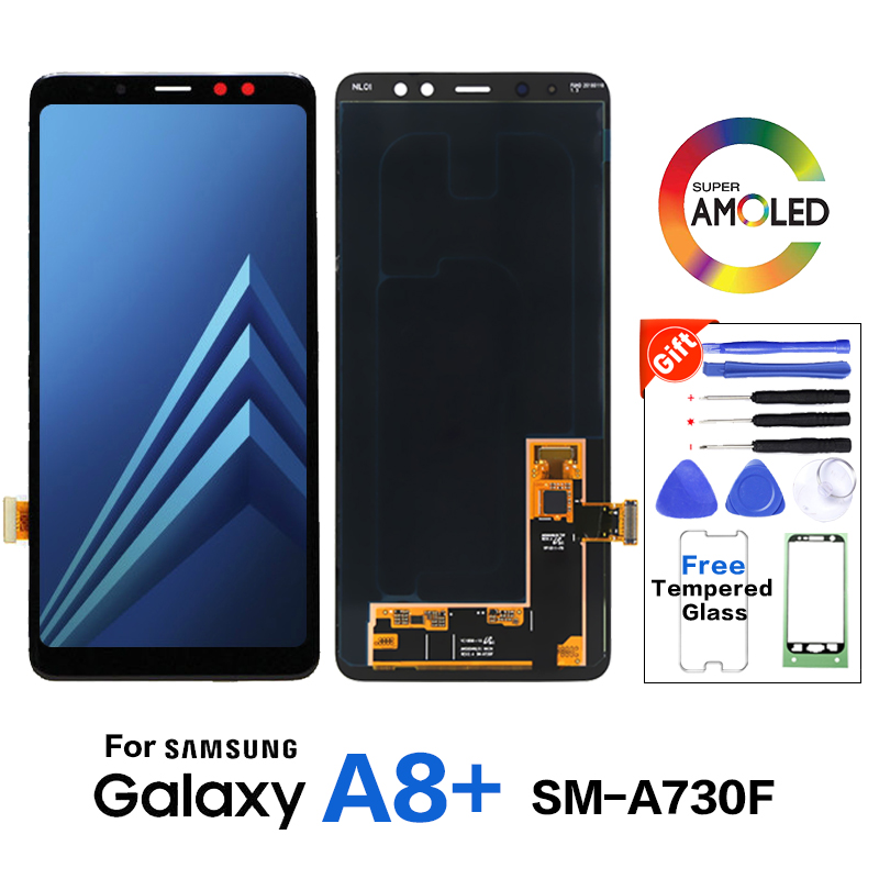 Original Amoled For Samsung Galaxy <font><b>A8</b></font>+ A730 SM-A730F LCD Screen <font><b>Display</b></font> Replacement for Samsung <font><b>A8</b></font>+ SM-A730X LCD <font><b>display</b></font> screen image