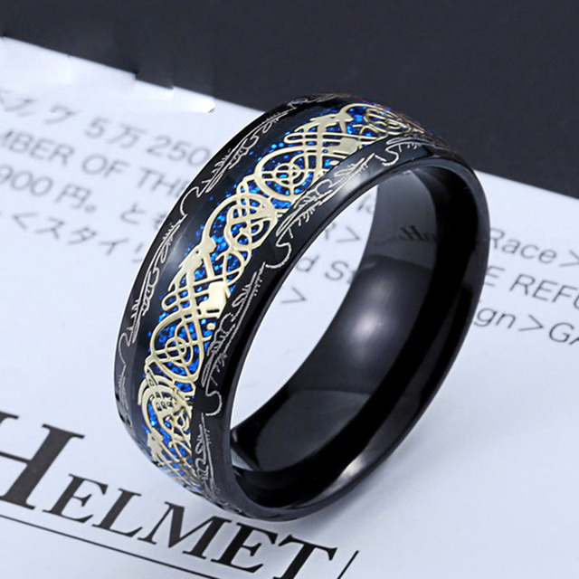 2020 New Arrive Fashion 316L Stainless Steel Golden Dragon Man's Ring Blu-ray Simple Fashion High Quality Jewelry 5