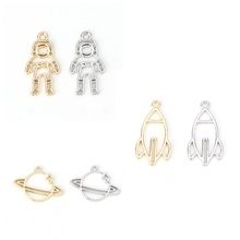 Galaxy Charms Pendants Earring Planet Rocket Spaceman Jewelry Making for DIY Gifts 10-Pcs