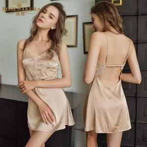 Image 4 - Wysokiej klasy lekkie luksusowe romantyczne jedwabne koszule nocne seksowna bielizna mikro elastyczna pończoch bez ramiączek erotyczna seksowna spódnica na seks sukienka