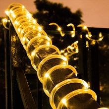 Luz de néon solar ao ar livre corda 7m/12m natal à prova dwaterproof água jardim árvore fio cobre tubo luz decorativa casa gramado lanterna