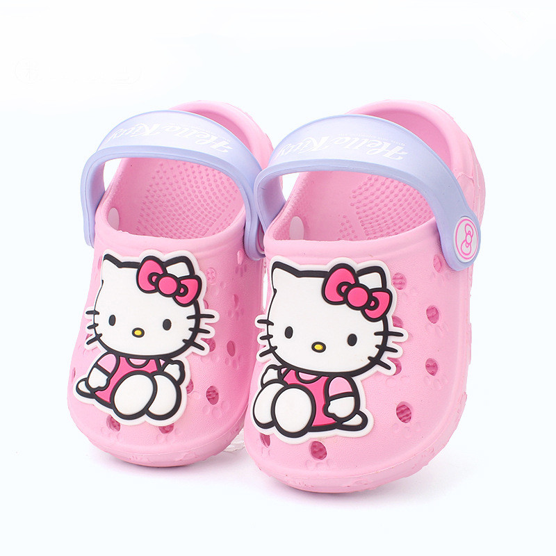 Baby Girl Sandals Hello Kitty Cute Cartoon Cat Kitty Kids Sandals Cut-outs Kids Slippers With Holes Children Beach Shoes Slipper