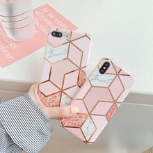 цена на Geometric Luxury For iPhone X Case Marble Phone Case For iPhone XR XS Max 6 6s 7 8 Plus Back Cover Soft TPU Electroplated Coque