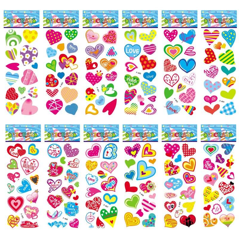 12 Sheets/set Cute Love Heart Shape Bubble Foam Sticker For Children Girls Cartoon 3D Scrapbooking Stickers Toys Gift
