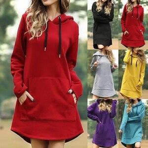 Women Solid Hoodies Dress Autumn Warm Oversized Long Sleeve Sweatshirt Casual Pocket Irregular Hem Female Long Hoody Dresses