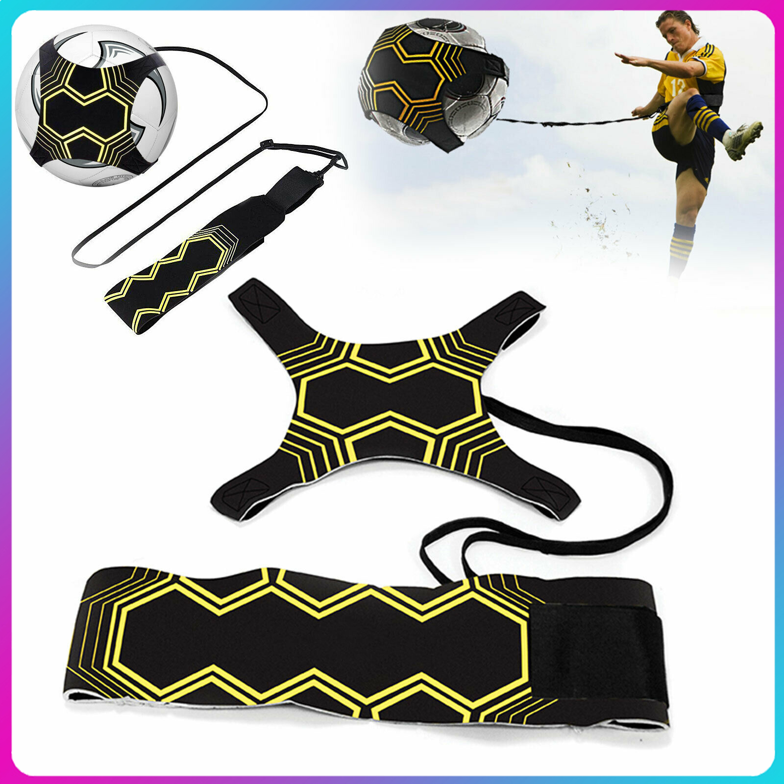 (VIP) Soccer Trainer Football Kick Throw Solo Practice Training Aid Control Skills Adjustable Equipment Ball Bags Gift