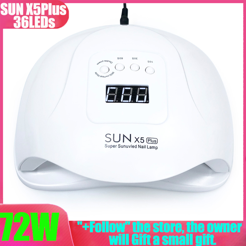 Brand 72W UV LED Lamp SUN X5Plus Dual power Nail Dryer 36 LEDs For Curing UV Gel Nail Polish With LCD Timer Automatic induction