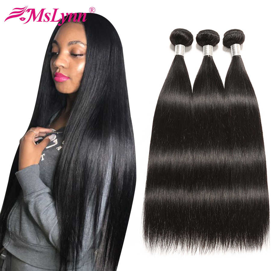 Straight Hair Bundles Peruvian Hair Bundles Human Hair Weave Bundles 3 or 4 Piece Mslynn Remy Hair 8- 28 Inches Bundles