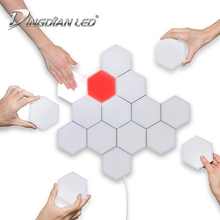 DINGDIAN LED DIY Quantum Lamp Colorful Hexagonal Touch Sensitive Night light Magnetic Hexagons Wall Beehive