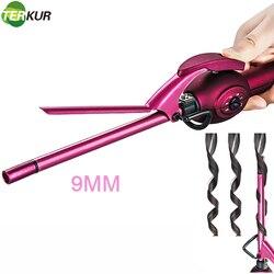Fer à friser en céramique, 9mm, fer à friser pour cheveux courts/longs, petit baril avec 6 réglages de température, pour hommes/femmes