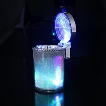 цена на Ashtray with LED Light Cigarette Cigar Ash Tray Container Smoke Ash Cylinder Smoke Cup Holder Storage Cup