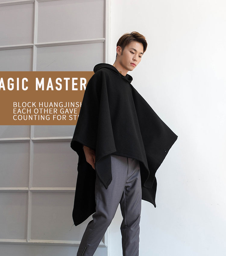 Front Short Back Long Hoodie Man Cape Cape Coat Cape Cape Cape Cape winter fur coat black fashion mid-length Hoodie