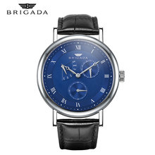 Male watch Quartz Leather Waterproof Mens  Watches Luxury Brand BRIGADA Stainless Steel Date Clock Casual Wrist Watch Gold