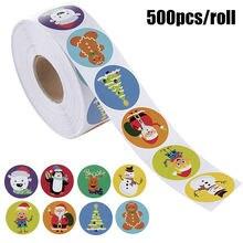 500 шт/рулон рождественские наклейки 8 различных мультяшных