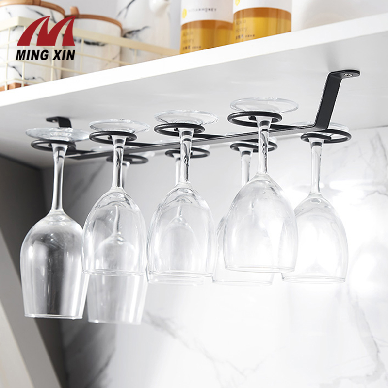 Wine Glass Holder 8 Cups Upside-Down Goblet Holder Kitchen Bar Wine Set Hanging Under Cupboard Champagne Wine Glass Storage Rack
