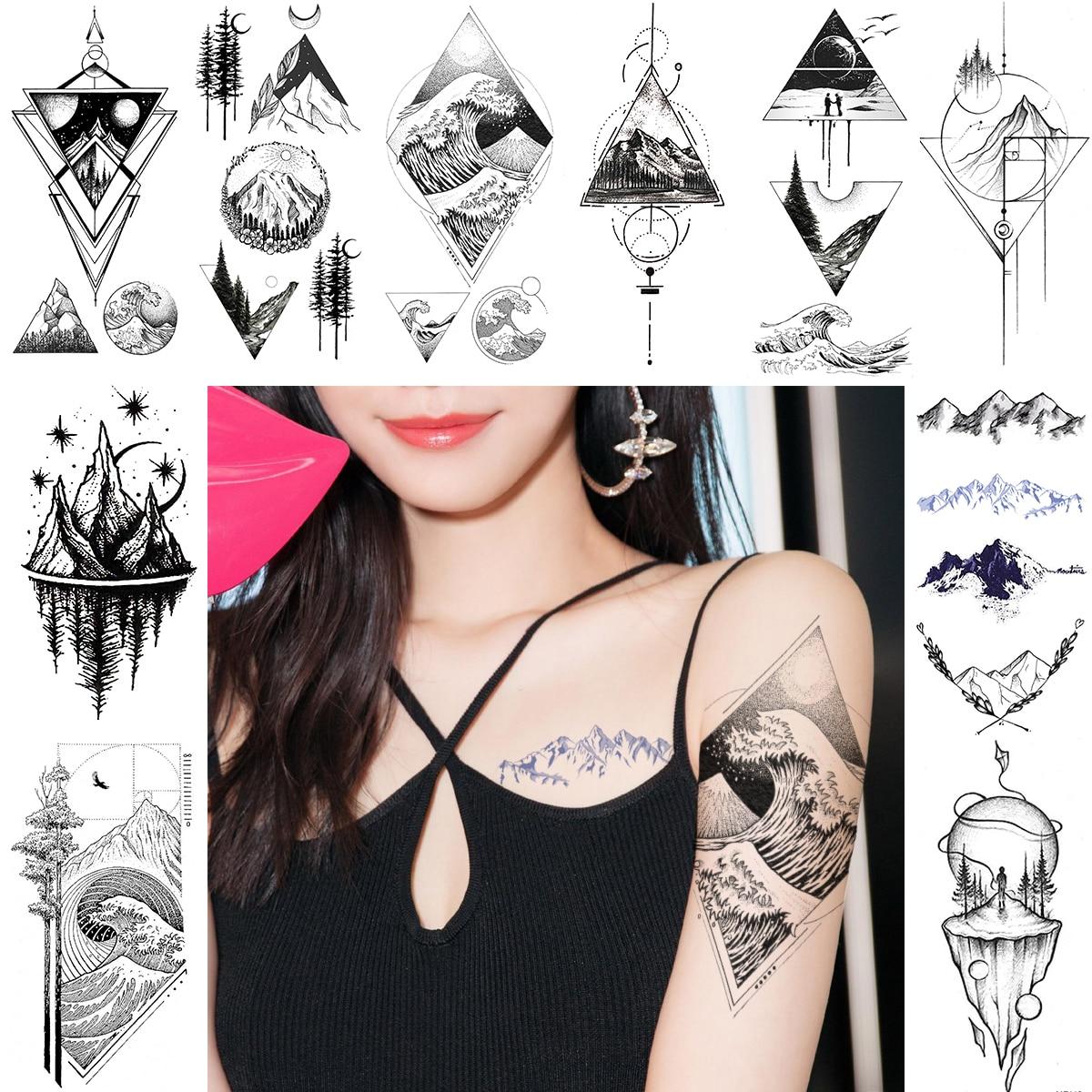 Diamond Rhombus Wave Temporary Tattoos Triangle Planets Mountain Tattoo Sticker For Men Women Geometric Body Art Arm Neck Tatoos