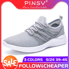 цена на PINSV Light Men Shoes Mesh Summer Sneakers Breathable Mens Shoes Casual Breathable Sneakers Men Walking Shoes zapatos de hombre