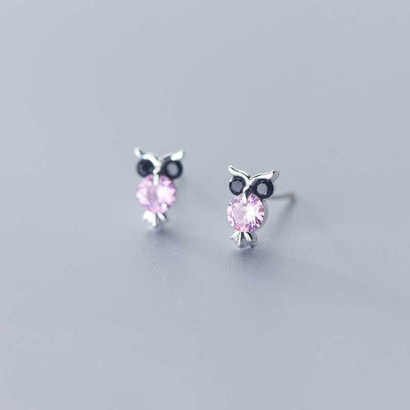 925 Sterling Silver Owl Stud Earrings Purple Pink Blue Kids Girls Gift Set