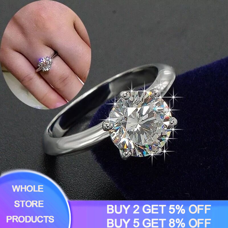 Have Certificate Women 100% Real 925 Silver Rings Solitaire 1.5CT Lab Diamond Engagement Wedding Rings Rings Size 4 5 6 7 8 9 10(China)