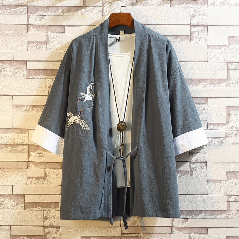 2019 Japanese Style Haori Kimono Japanese Kimono Mujer Men Retro Samurai Crane Chinese Style Cardigan Japanese Streetwear Jacket