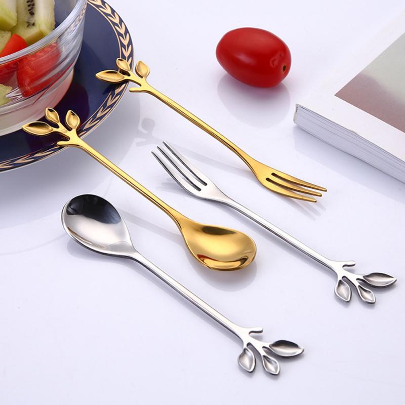 Нержавеющаясталь ложка творческий листья десертная ложка, вилка, ложка для размешивания кофе лопатка-Вилка десертная вилка Кухня аксессу...