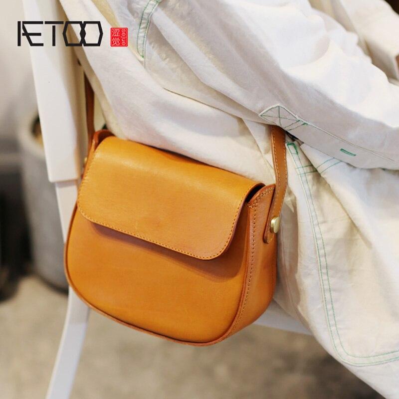 AETOO Vintage saddle bag, semi-round high-sense bag, 100-year-old with oceanic retro summer slant bag