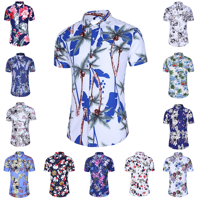 2020 Summer Fashion Mens Shirt Slim Fit Short Sleeve Floral Shirt Mens Clothing Trend Mens Casual Flower Shirts Size M-7XL