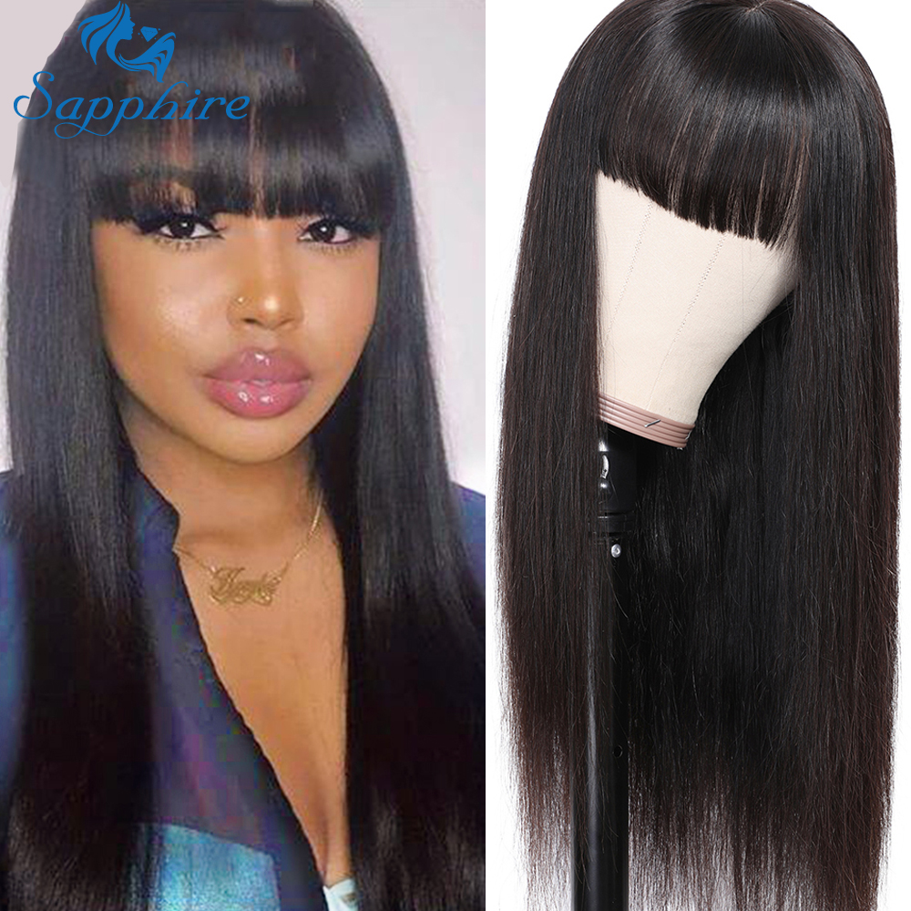 Sapphire Hair Chinese Bang Human Hair Wig Pre Plucked Straight Wigs For Women Glueless Machine Made Brazilian Human Hair Wigs