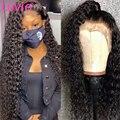 Luvin 30 40 дюймов 13X4 кудрявые глубокие волны на шнуровке передние человеческие волосы парики бразильская водная волна для черной женщины 250 пло...